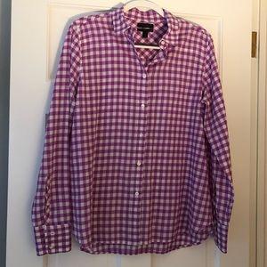 J. Crew Purple & White Gingham Shirt Size 12 NWOT